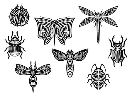 Tribal tattoos set with ornamental elements of insects for design