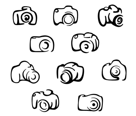 Camera icons and symbols set isolated on white background Illusztráció