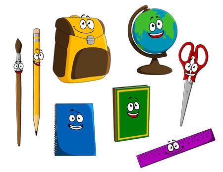 Cartoon school objecten voor onderwijs conceptontwerp Stock Illustratie