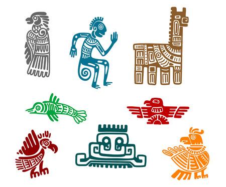 cultura maya: Antiguo arte dibujo azteca y maya aisladas sobre fondo blanco