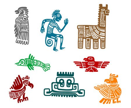 Aztec and maya ancient drawing art isolated on white background Vector