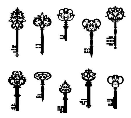 llaves: Claves antiguos establecidos en estilo retro aislado sobre fondo blanco