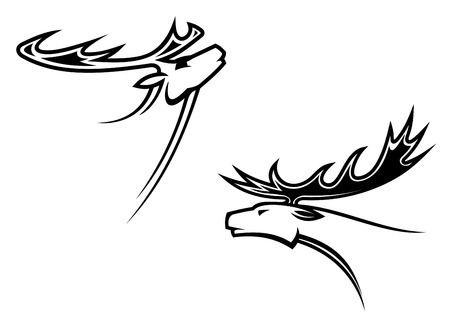 Wild deer mascots in tribal style for tattoo or another design