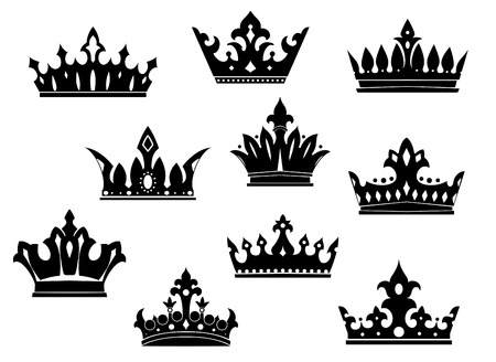 Black heraldic crowns set isolated on white background for design 向量圖像