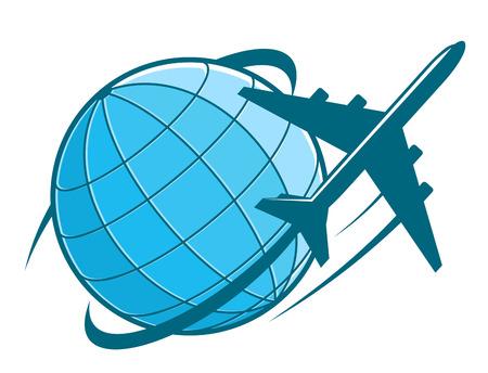 Snel vliegtuig vliegen rond de aarde als een reis-of transportsector ontwerp Stock Illustratie