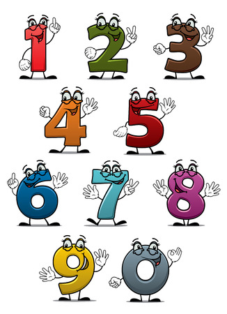 Cartoon funny numbers and digits set for education or another design Çizim