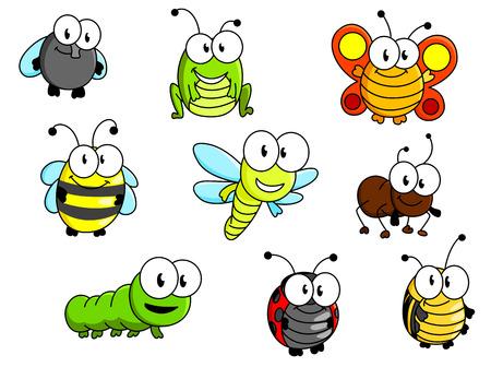 gusano caricatura: Insectos de la historieta fijaron aislado en el fondo blanco para el diseño de cuento de hadas