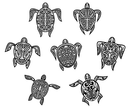 sea turtle: Tribal turtles tattoos set isolated on white bnackground