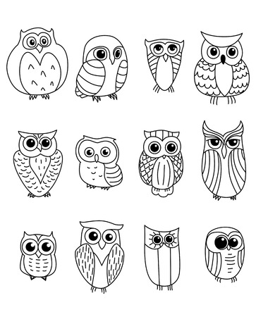 owl tattoo: Cartoon owls and owlets birds isolated on white background