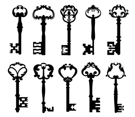 antique keyhole: Vintage keys isolated on white for retro concept design