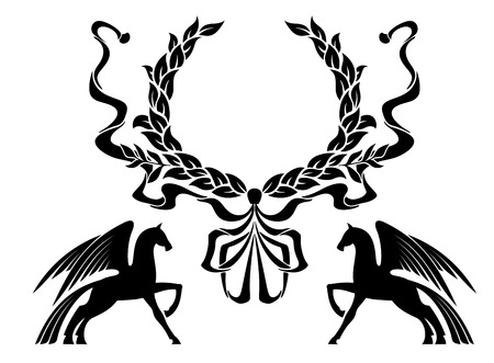 Winged horses with laurel wreath for heraldry design Vector
