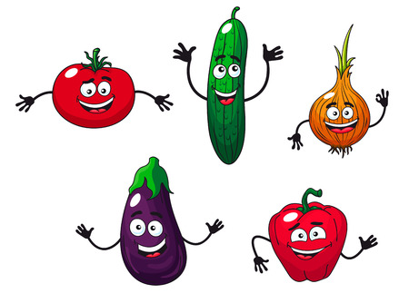 Cucumber, pepper, onion, eggplant and tomato vegetables in cartoon style