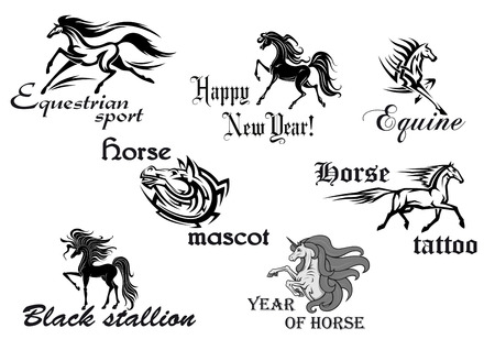 Black horse stallions mascots in cartoon and tattoo style Vector