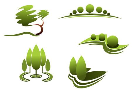 조경 디자인 요소 : 나무, 관목, 흰색 배경에 고립 된 식물 일러스트