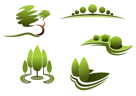 Elementos de diseño del paisaje: árboles, arbustos, plantas aisladas sobre fondo blanco. Ilustración de vector