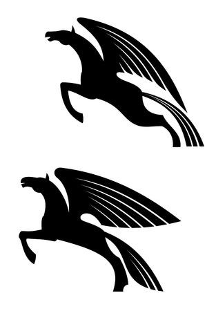 pegaso: Caballos alados de la fantas�a en el estilo de la silueta para el tatuaje o dise�o de la her�ldica Vectores