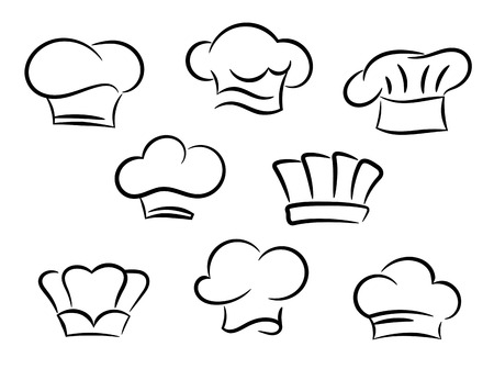 gorro chef: Sombreros de cocinero conjunto aislado sobre fondo blanco Vectores