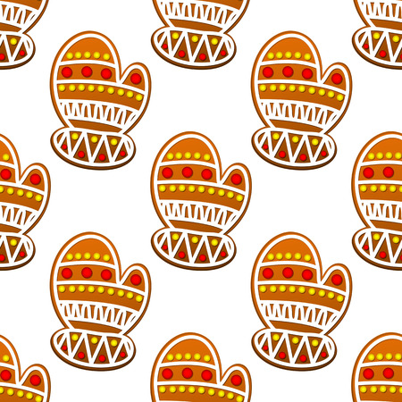Gingerbread mitten seamless pattern for christmas design Vector