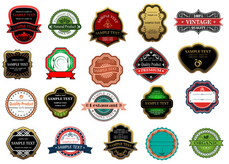 free vintage background: Badges and labels set for retail or sale industry design