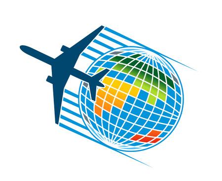 Vliegtuig vliegt rond een kleurrijke earth globe voor Tavel of transport begrip bedrijfstak