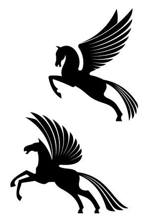 white horse: Pegasus winged horses isolated on white for heraldry design