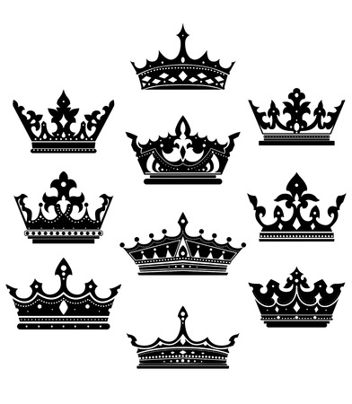 king and queen: Black crowns set for heraldry design isolated on white  Illustration