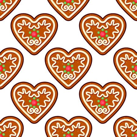 Gingerbread hearts seamless pattern background for christmas holiday design Vector