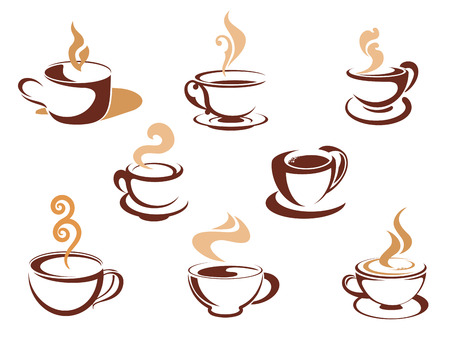 Cups with fragrant coffee for cafe or restaurant design Illustration
