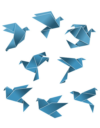 Blue paper pigeons and doves in origami style isolated on white background for peace concept design Vector