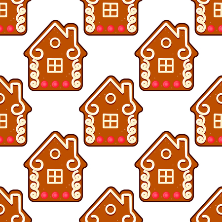 Seamless gingerbread pattern with people houses for christmas holiday design Vector