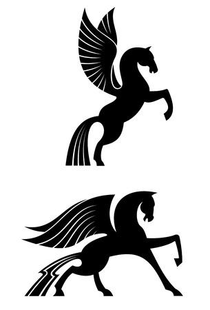 black horse: Dos caballos alados negros para la heráldica y la decoración de diseño Vectores