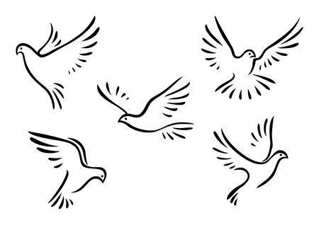 Doves and pigeons set for peace concept and wedding design Ilustração