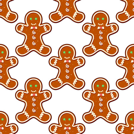 Ginger cookies seamless pattern background for christmas design Vector