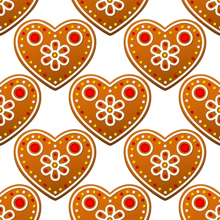 Gingerbread cookies seamless pattern with heart shapes for christmas design Vector