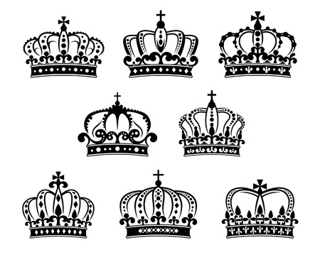 monarch: Ornate heraldic royal crowns set isolated on white for design