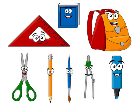 Los útiles escolares y objetos en estilo de dibujos animados para el diseño de la educación