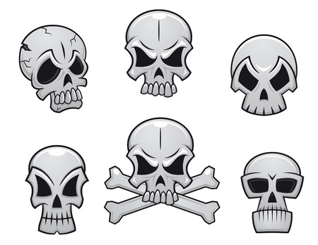 Cartoon skulls set for scary, hallooween or another danger concept design Illustration