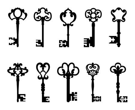 llaves: Las teclas negras serie Vintage aislado en blanco para el dise�o retro o el concepto de seguridad Vectores