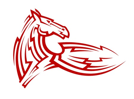 steed: Red tribal mustang horse for mascot, tattoo or equestrian sports design