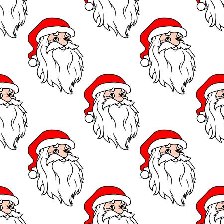 winter holidays: Cartoon Santa seamless pattern background for winter holidays design