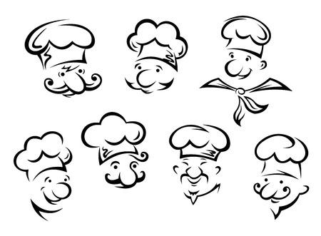 cocina caricatura: Retratos de dibujos animados de los cocineros divertidos en el estilo de dibujo