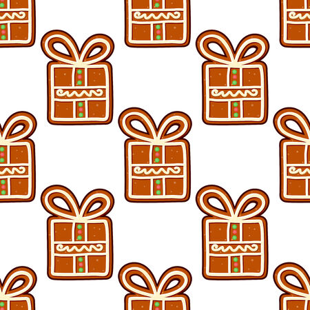 Gingerbread presents seamless pattern for christmas and new year holiday design Vector
