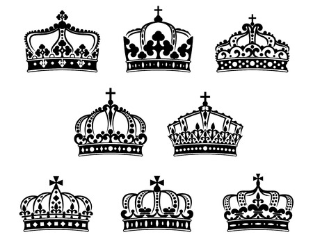 corona reina: Rey y reina coronas fijadas para la heráldica y diseño adorno de lujo Vectores
