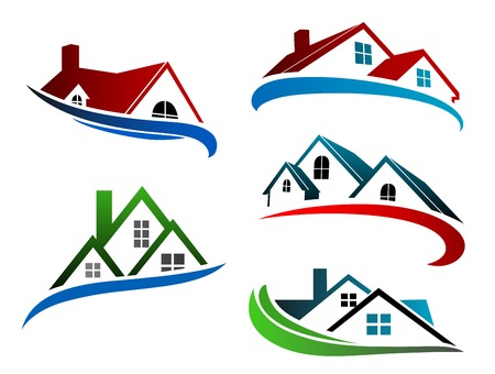 building symbols with home roofs for real estate business design