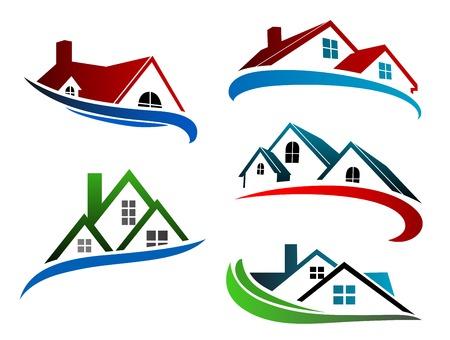 nieruchomosci: Symbole budynków z dachami domów dla projektu biznesowego nieruchomości