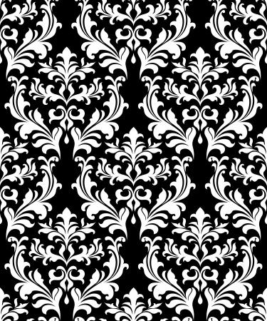 decoration design: Damasco de fondo sin fisuras con elementos decorativos florales