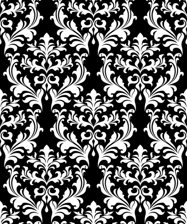 black damask: Damask seamless pattern background with decorative floral elements