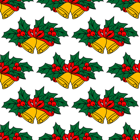 Seamless pattern with christmas bells for holiday design Vector