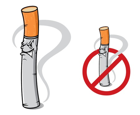 abstain: Prohibition sign no smoking with cartoon danger cigarette