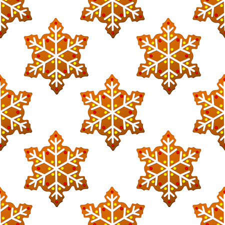 Gingerbread snowflakes seamless pattern for holiday design Stock Vector - 24546110